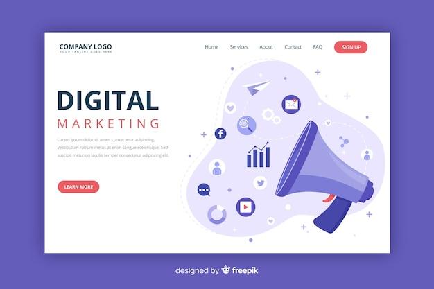 Modelo de página de destino do conceito de marketing Vetor grátis