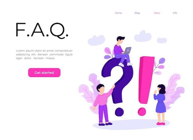 Modelo de página de destino do conceito de pergunta frequente. Vetor Premium
