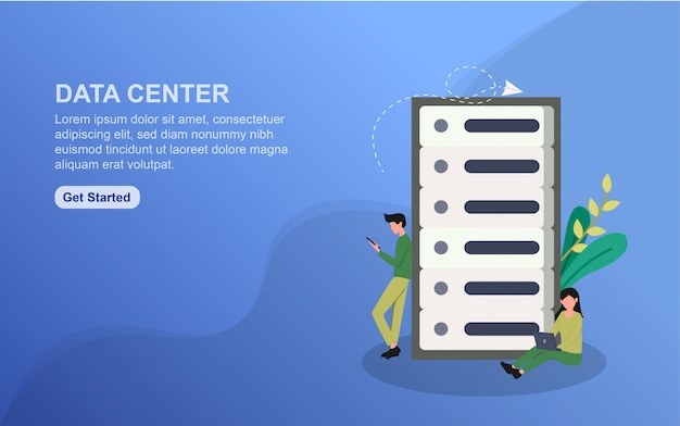 Modelo de página de destino do data center. conceito de design plano de design de página da web para o site. Vetor Premium