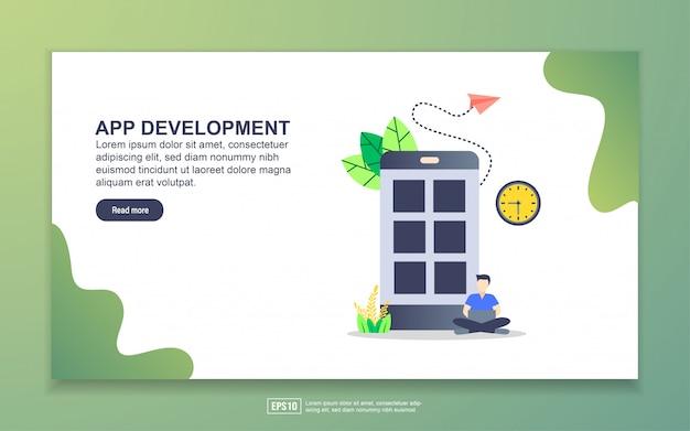 Modelo de página de destino do desenvolvimento de aplicativos. conceito moderno design plano de design de página da web para o site e site móvel. Vetor Premium