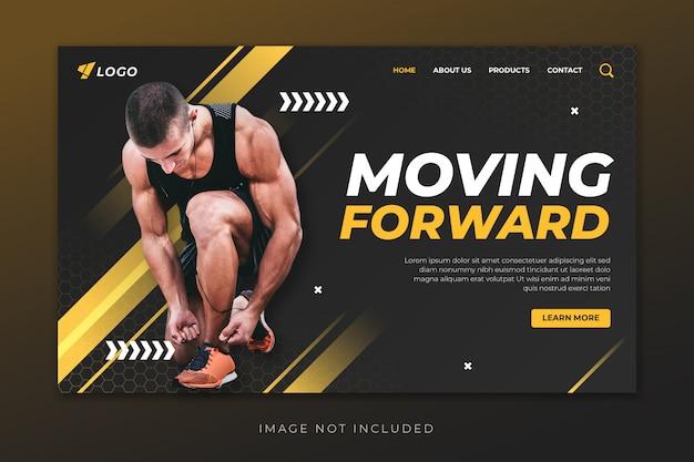 Modelo de página de destino do esporte Vetor Premium