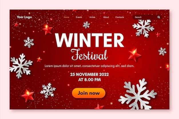 Modelo de página de destino do festival de inverno Vetor grátis