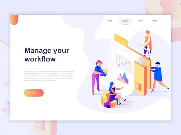 Modelo de página de destino do gerenciamento de negócios e fluxo de trabalho. Vetor Premium