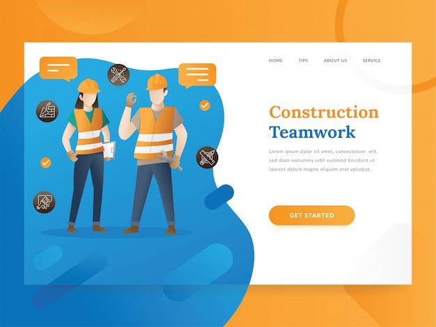 Modelo de página de destino do gerenciamento de projetos e construções Vetor Premium