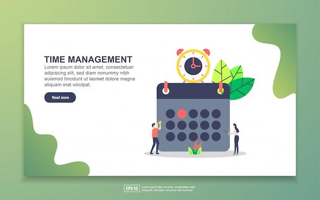 Modelo de página de destino do gerenciamento de tempo. conceito moderno design plano de design de página da web para o site e site móvel. Vetor Premium