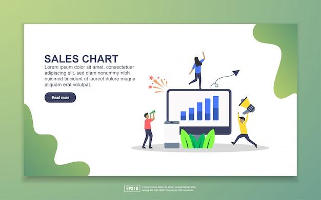 Modelo de página de destino do gráfico de vendas Vetor Premium