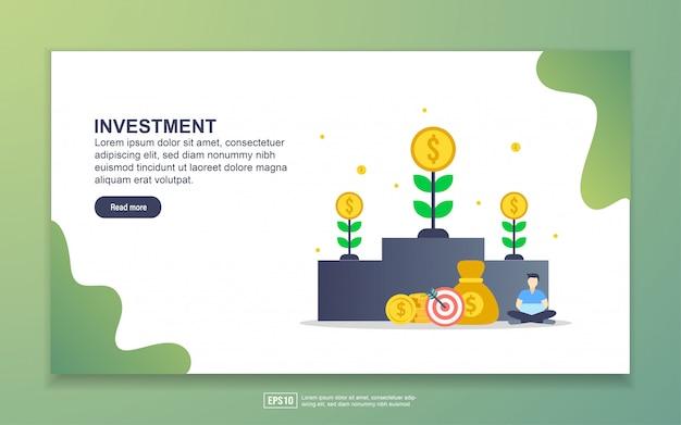 Modelo de página de destino do investimento. conceito moderno design plano de design de página da web para o site e site móvel. Vetor Premium