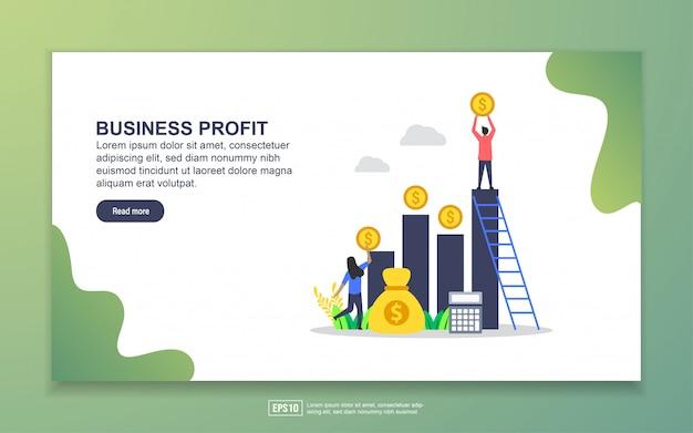 Modelo de página de destino do lucro comercial. conceito moderno design plano de design de página da web para o site e site móvel Vetor Premium
