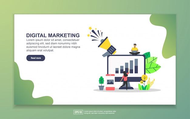 Modelo de página de destino do marketing digital Vetor Premium