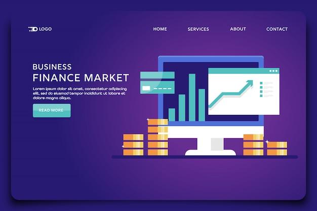 Modelo de página de destino do mercado financeiro Vetor Premium