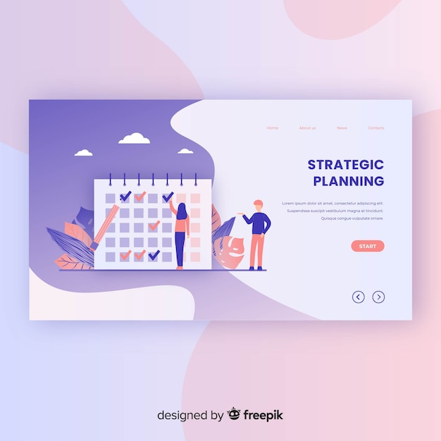 Modelo de página de destino do planejamento estratégico Vetor grátis