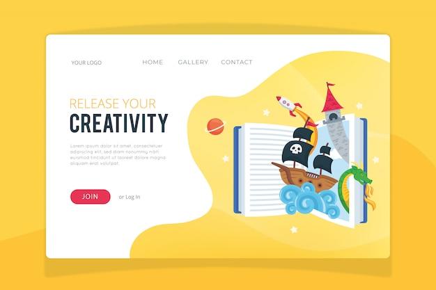 Modelo de página de destino do processo criativo Vetor grátis