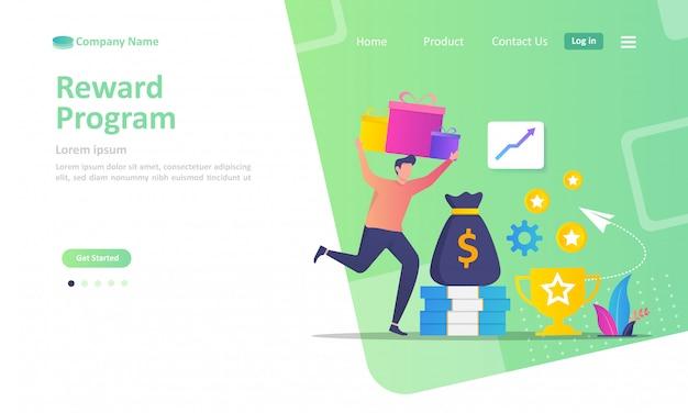 Modelo de página de destino do programa de fidelidade e obter recompensas Vetor Premium