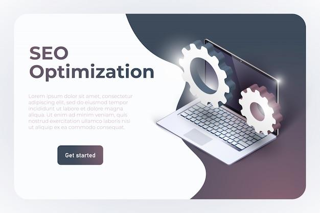 Modelo de página de destino do site de otimização seo. Vetor Premium