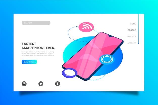 Modelo de página de destino do smartphone mais rápido Vetor grátis