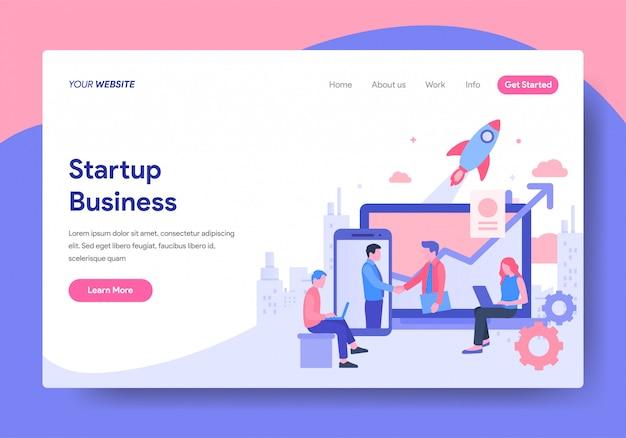 Modelo de página de destino do startup business Vetor Premium