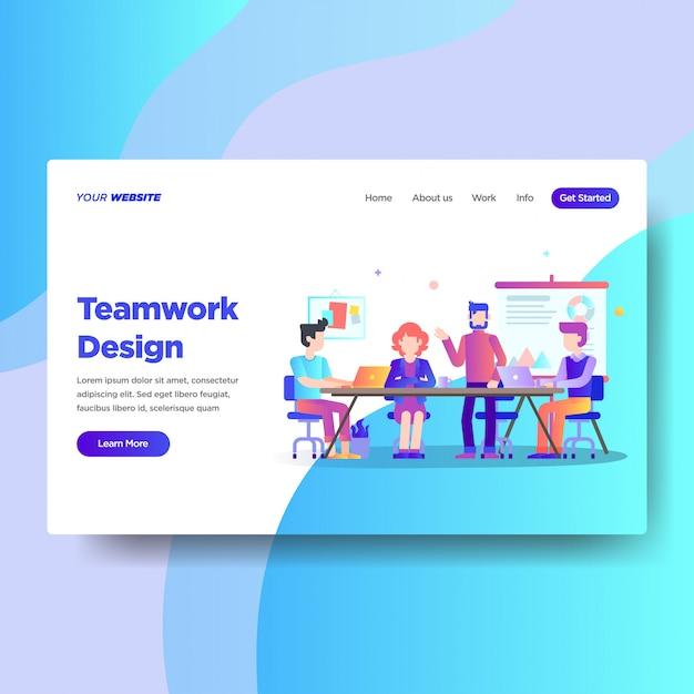 Modelo de página de destino do teamwork design Vetor Premium