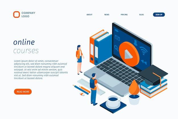 Modelo de página de destino dos tutoriais online Vetor Premium