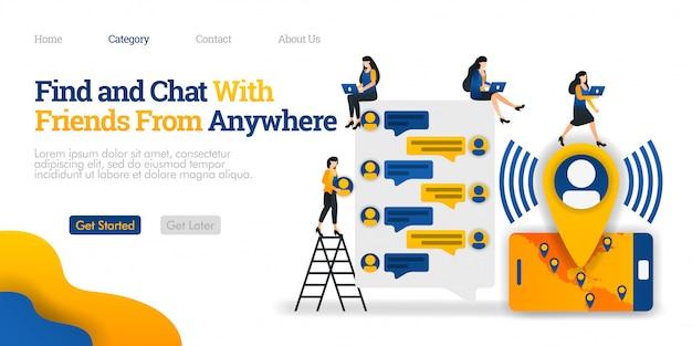Modelo de página de destino. encontre e converse com amigos em qualquer lugar. encontre e comunique-se com amigos de todo o mundo Vetor Premium