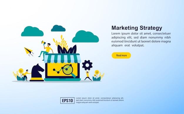 Modelo de página de destino. estratégia de marketing Vetor Premium