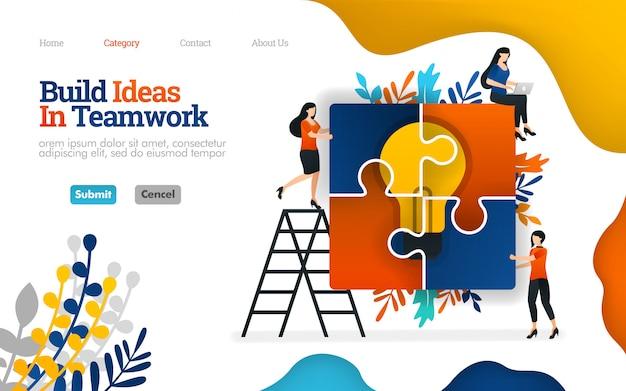 Modelo de página de destino. ilustração em vetor plana de construir idéias no trabalho em equipe, montando quebra-cabeças para inspiração Vetor Premium