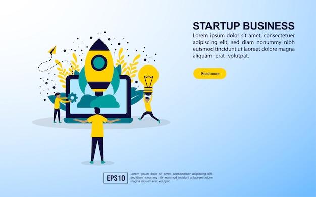 Modelo de página de destino. iniciar negócios Vetor Premium