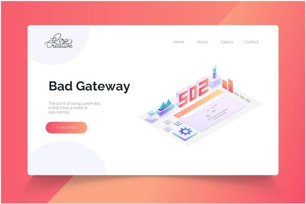 Modelo de página de destino isométrica de conceito de gateway inválido Vetor Premium