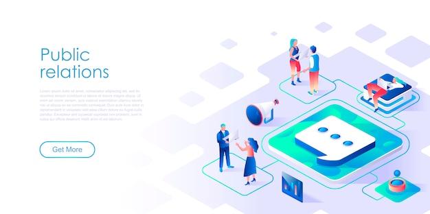 Modelo de página de destino isométrica de relações públicas Vetor Premium