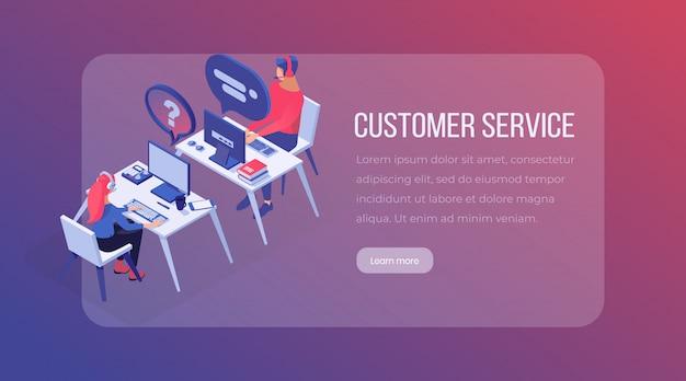 Modelo de página de destino isométrica de serviço ao cliente. Vetor Premium