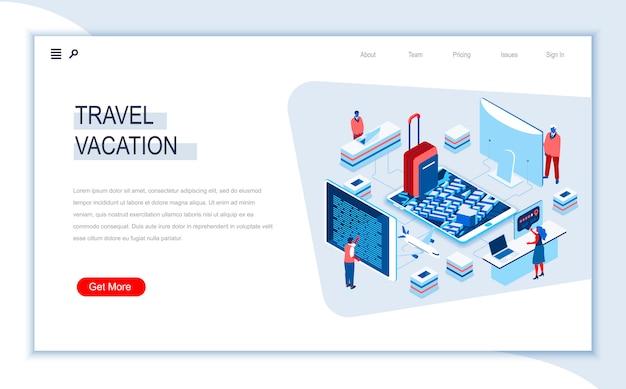 Modelo de página de destino isométrica de viagens e férias. Vetor Premium