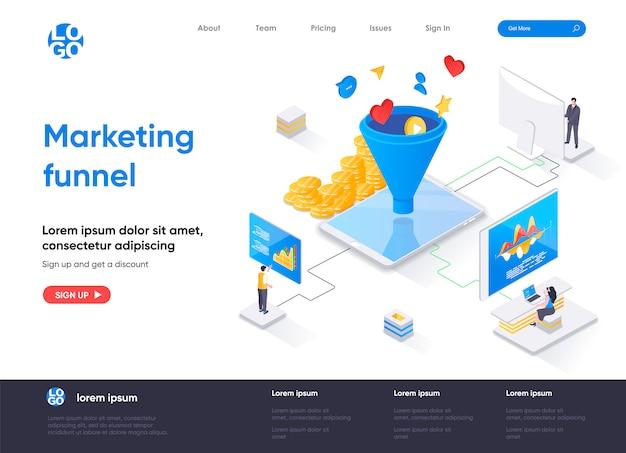 Modelo de página de destino isométrica do funil de marketing Vetor Premium