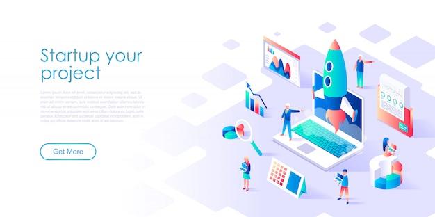 Modelo de página de destino isométrico startup your project Vetor Premium