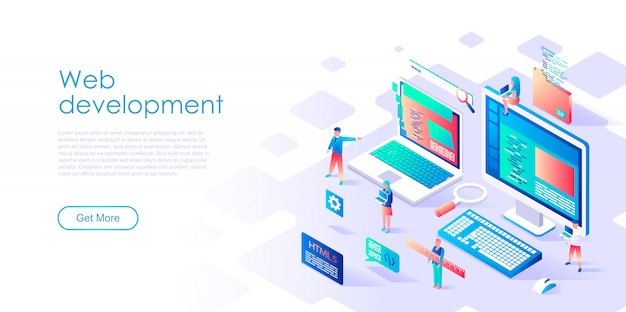Modelo de página de destino isométrico web development Vetor Premium