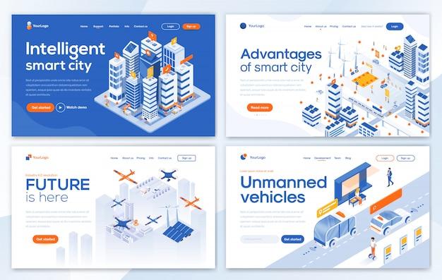 Modelo de página de destino moderno - conjunto de cidade inteligente Vetor Premium