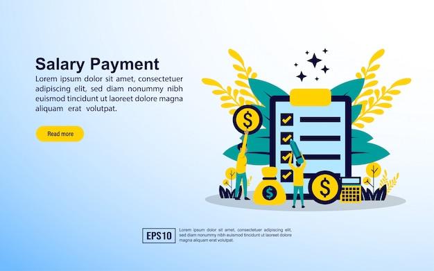 Modelo de página de destino. pagamento de salário Vetor Premium