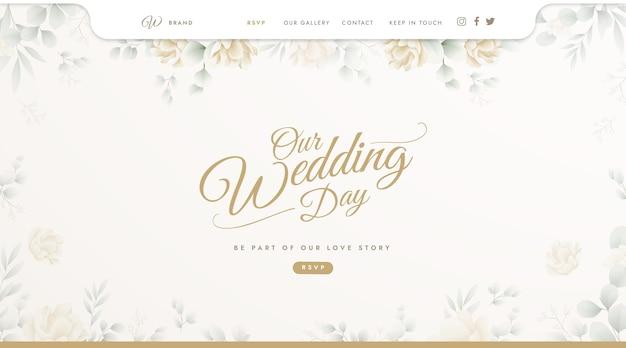 Modelo de página de destino para casamento Vetor grátis
