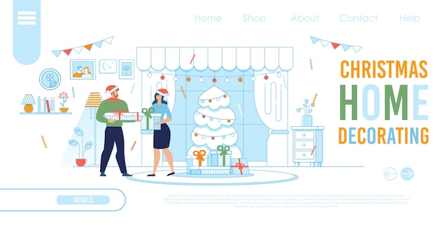 Modelo de página de destino para compras on-line de natal Vetor Premium