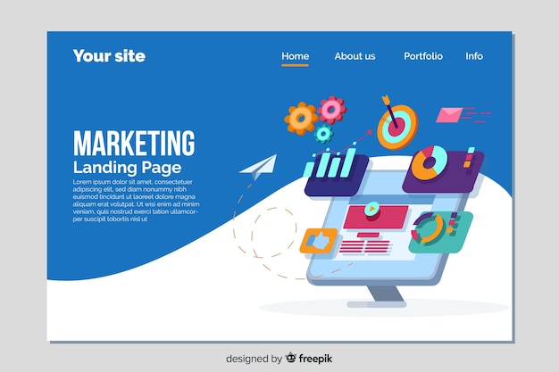 Modelo de página de destino para marketing Vetor grátis