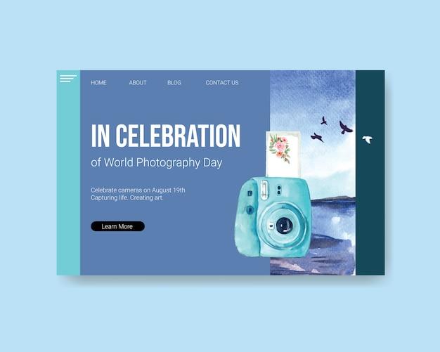 Modelo de página de destino para o dia mundial da fotografia Vetor grátis