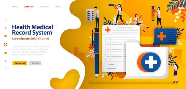 Modelo de página de destino para sistema de registro médico de saúde. pasta com símbolo cruzado e formulário de inscrição Vetor Premium