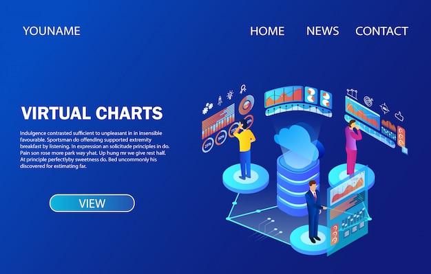 Modelo de página de destino. pessoas que trabalham com gráficos virtuais de análise de dados Vetor Premium
