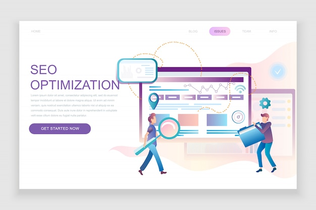 Modelo de página de destino plana da análise seo Vetor Premium