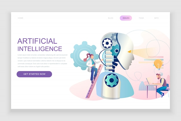 Modelo de página de destino plana de inteligência artificial Vetor Premium