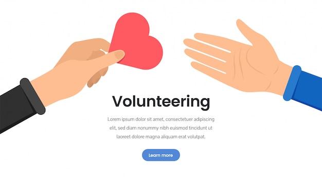 Modelo de página de destino plana de organização de voluntariado Vetor Premium