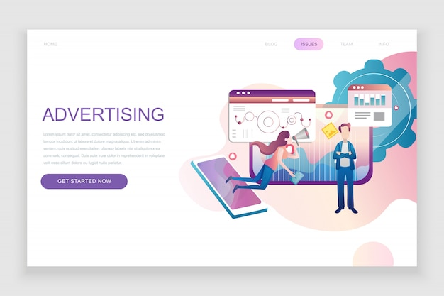 Modelo de página de destino plana de publicidade e promoção Vetor Premium