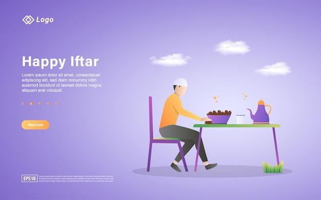 Modelo de página de destino plana de ramadan kareem Vetor Premium