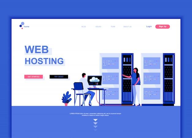 Modelo de página de destino plana de web hosting Vetor Premium