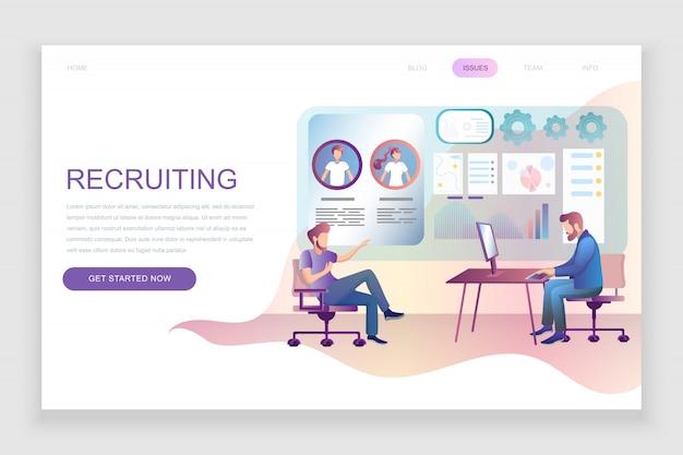 Modelo de página de destino plana do recrutamento Vetor Premium
