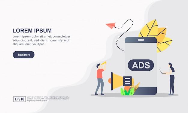 Modelo de página de destino. publicidade e conceito de marketing. campanha de publicidade do projeto Vetor Premium