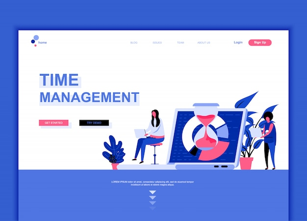Modelo de página de destino simples do gerenciamento de tempos Vetor Premium